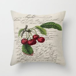 shabby elegance french country botanical illustration vintage red cherry Throw Pillow