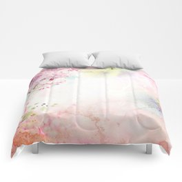 Pink Watercolor Floral Comforters