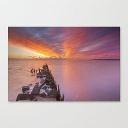 Sunrise over sea on the island of Texel, The Netherlands Canvas Print