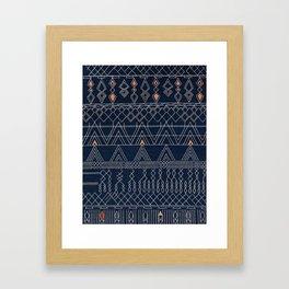 N53 - Blue Indigo Oriental Antique Traditional Moroccan Style Artwork Framed Art Print