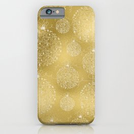 Merry christmas- christmas balls on gold pattern iPhone Case