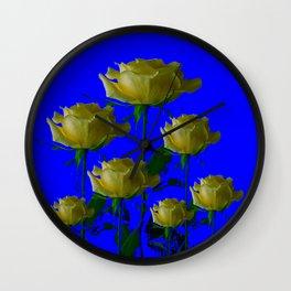 IVORY WHITE LONG STEMMED ROSES ON BLUE Wall Clock