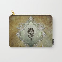 Wonderful tribal dragon on vintage background Carry-All Pouch