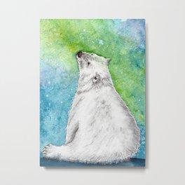 Northern Lights Polar Bear Metal Print
