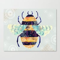 bee Canvas Prints featuring bee by Yellow Button Studio