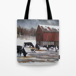 Holstein Dairy Cows in Snowy Barnyard; Winter Farm Scene No. 2 Tote Bag
