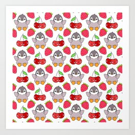 Cute funny sweet adorable happy baby penguins, little cherries and red ripe summer strawberries cartoon fantasy brightwhite pattern design Art Print