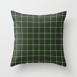 Small Grid Pattern - Deep Green Throw Pillow
