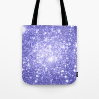 lavender Tote Bags featuring Lavender Periwinkle Sparkle Stars by Whimsy Romance & Fun