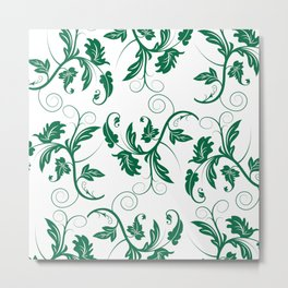 Large Green Floral Vines On A White Background Metal Print
