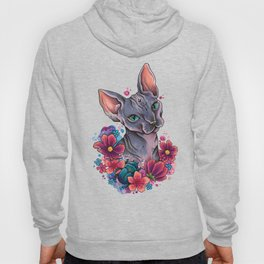 Neo Traditional Sphynx cat and flowers Hoody