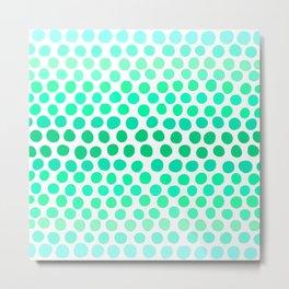 Seafoam Green, Teal and Light Blue Dots Metal Print