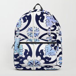 Azulejos, moroccan tiles, Painted tiles, blue, white, portugal Backpack