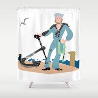 sailor Shower Curtains featuring Sailor by Design4u Studio