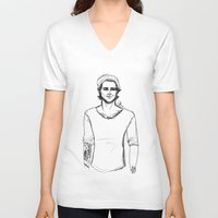 zayn V-neck T-shirts featuring Pencil Zayn by maestolenpencil