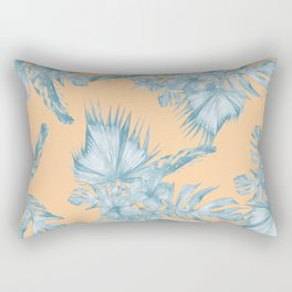 Ocean Blue Palm Leaves on Coral Apricot Rectangular Pillow