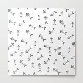 Grey fishbone Pattern Metal Print
