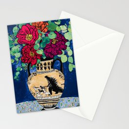 Bright Peony Rose Bouquet in Grecian Urn with Godzilla Walking French Bulldogs Painting Stationery Cards