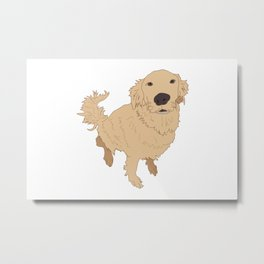 Golden Retriever Illustration on a White Background Metal Print