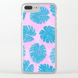 Pink Blue Hand Painted Swiss Cheese Plant Leaves Clear iPhone Case