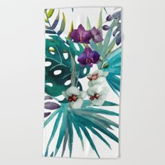 Tropical Floral Pattern 04 Beach Towel