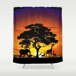 Wild Animals on African Savanna Sunset Shower Curtain