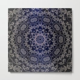 Glowing Nirvana Mandala On Deep Blue Textured Background Metal Print