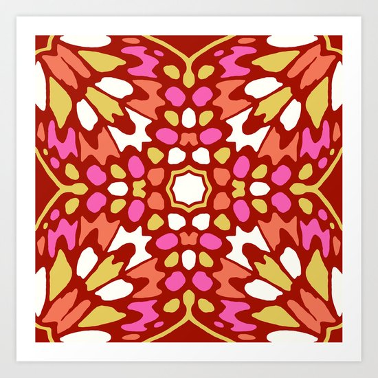 Butterfly Red Pink Combo Art Print