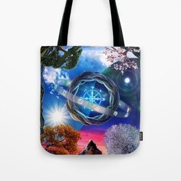 X . The Wheel Tarot Card Illustration Tote Bag