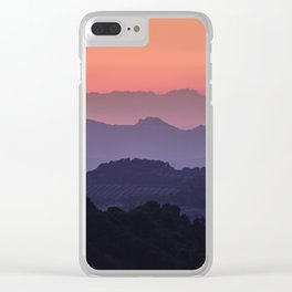 Purple sunset at the mountains. Last night Clear iPhone Case