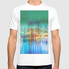Amsterdam Habor by night Mens Fitted Tee White MEDIUM