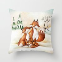 foxes Throw Pillows featuring Foxes by Arianna Usai