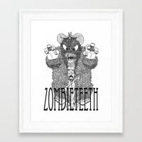 bigfoot Framed Art Prints featuring Bigfoot by Iamzombieteeth Clothing