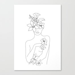 Minimal Line Art Woman with Flowers IV Canvas Print