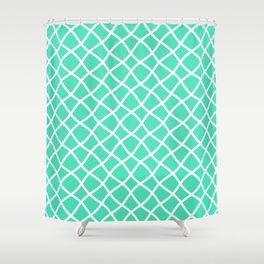 Menthol green and white curved grid pattern Shower Curtain
