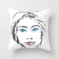 no face Throw Pillows featuring face by Artemio Studio