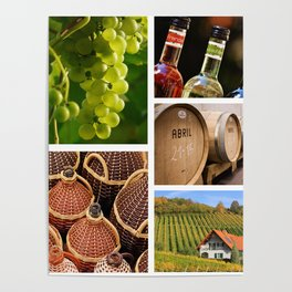 Wine and Vineyard Collage - Cafe or Kitchen Decor Poster