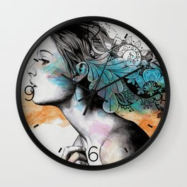 Moral Eclipse II (portrait of woman with doodles sketch) Wall Clock