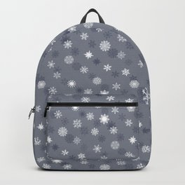 Snowflakes - White on Grey Backpack
