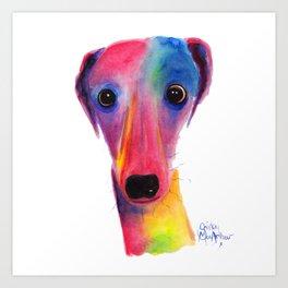 Nosey Dog Whippet Greyhound ' BeLLa ' by Shirley MacArthur Art Print