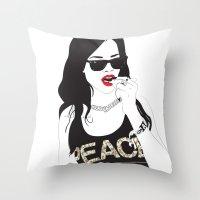 rihanna Throw Pillows featuring RIHANNA by Adam Churcher