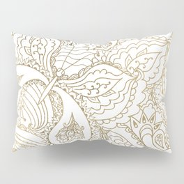 Elegant hand drawn white faux gold luxury floral Pillow Sham
