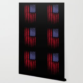 Vintage American flag on black Wallpaper