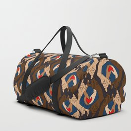 holding hands valentine's day pattern Duffle Bag