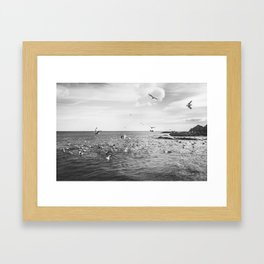 Irish bay and flying seagulls Framed Art Print
