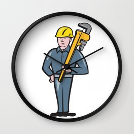 Plumber Holding Wrench Isolated Cartoon Wall Clock