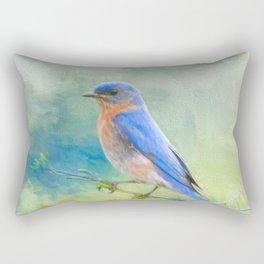 Bluebird In The Garden Rectangular Pillow