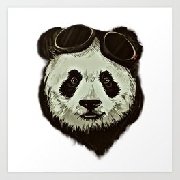 Panda Bear in Hipster Style Art Print