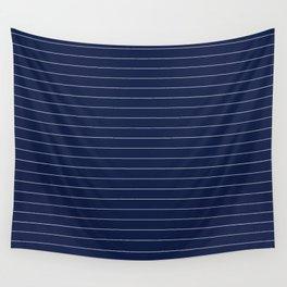 Navy Blue Pinstripe Line Stripe Minimal Stripes Lines Wall Tapestry