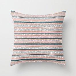 Geometric silver rose gold pink navy blue glitter  Throw Pillow